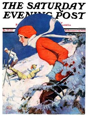 """""""Woman Skier,"""" Saturday Evening Post Cover, February 14, 1931 by James C. McKell"""