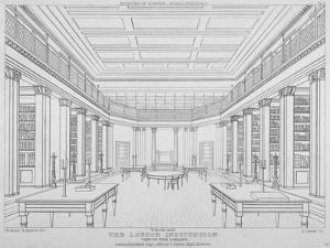 Interior View of the Library in the London Institution, Finsbury Circus, City of London, 1824 by James Carter