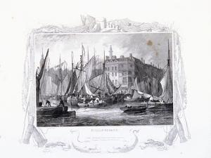 View of Billingsgate Wharf with Three Tuns Public House, Figures and Boats, London, 1834 by James Carter