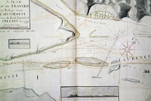 Map of Crossings on Saint Lawrence River Near Quebec by James Cook