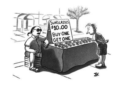 """A customer is looking at a street vendor's sign that reads, """"Sunglasses, $… - New Yorker Cartoon"""