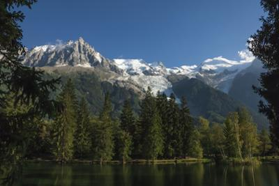 Aiguile du Midi and Mont Blanc, 4809m, and the Glaciers, from the Lake, Chamonix, Haute Savoie, Fre