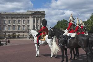 Guards Officer and Escort Awaiting Guards Detachments Outside Buckingham Palace by James Emmerson