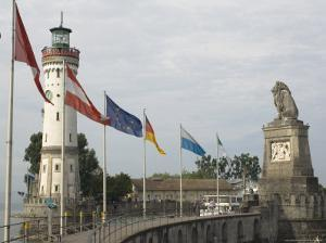 Harbour Entrance with Lighthouse and Lion, Lindau, Lake Constance, Germany by James Emmerson