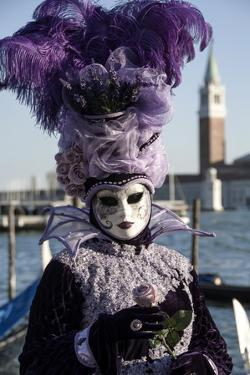 Lady in Black and Purple Mask and Feathered Hat, Venice Carnival, Venice, Veneto, Italy by James Emmerson