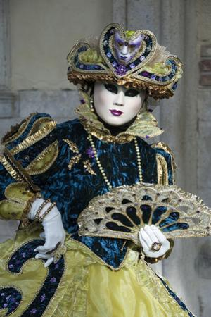 Lady in Blue and Gold, with Fan, Venice Carnival, Venice, Veneto, Italy, Europe by James Emmerson