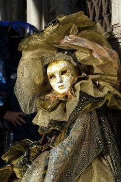 Lady in Gold, Venice Carnival, Venice, Veneto, Italy, Europe by James Emmerson