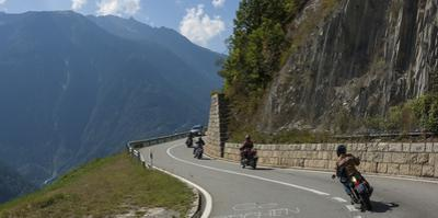 Motor cyclists on the Pass above Martigny, Switzerland, Europe