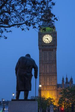 Sir Winston Churchill Statue and Big Ben, Parliament Square, Westminster, London, England by James Emmerson