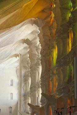 Sunlight Through Stained Glass, Sagrada Familia, Barcelona, Catalunya, Spain, Europe by James Emmerson