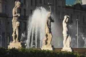 Three Nude Statues with Fountain, Placa De Lesseps, Barcelona, Catalunya, Spain, Europe by James Emmerson