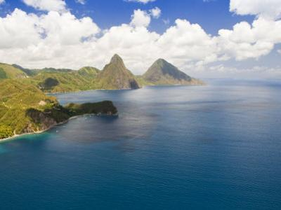 Aerial View of Gros Piton and Petite Piton, Icons of Saint Lucia