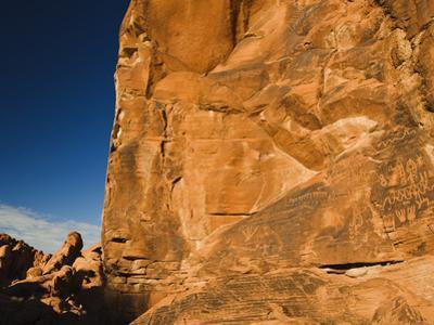Ancient Native American Petroglyphs on Sandstone Cliffs