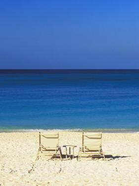 Beach Chairs Facing Blue Waters of the Carbbean by James Forte