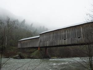 Honey Run Covered Bridge Spanning Butte Creek, Side View, California by James Forte