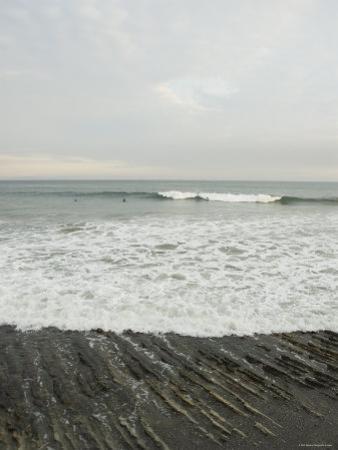 Santa Barbara Beach Scene with Surfers, California by James Forte