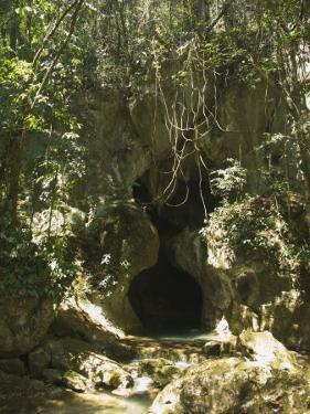 Small Waterfall and View of the Actun Tunichil Muknal Cave Entrance, Belize by James Forte