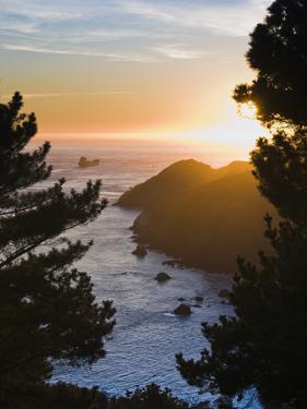 View from Marin Headlands of a Tanker Heading Out to Sea at Sunset by James Forte
