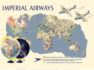 Imperial Airways - World Route Map by James Gardner