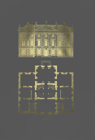 Gold Foil Building Plan I on Dark Grey by James Gibbs