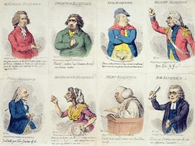 8 Vignettes Depicting Eloquence, Published by Hannah Humphrey in 1795 by James Gillray