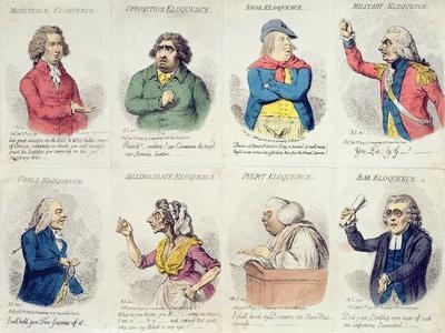 8 Vignettes Depicting Eloquence, Published by Hannah Humphrey in 1795