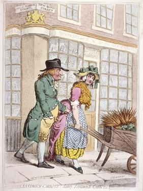 A Leering Man Making Advances to a Girl, New Bond Street, Westminster, London, 1796 by James Gillray