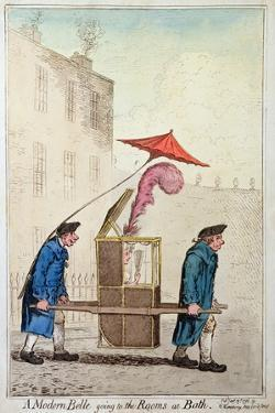 A Modern Belle Going to the Rooms at Bath, Published by Hannah Humphrey in 1796 by James Gillray