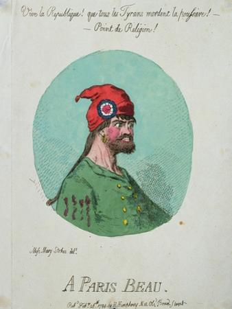 A Paris Beau, Published by Hannah Humphrey in 1794 by James Gillray