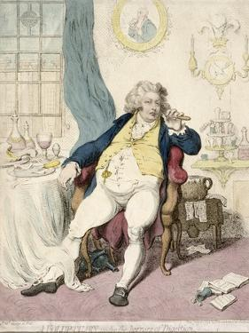 A Voluptuary under the Horrors of Digestion, Published by Hannah Humphrey in 1792 by James Gillray