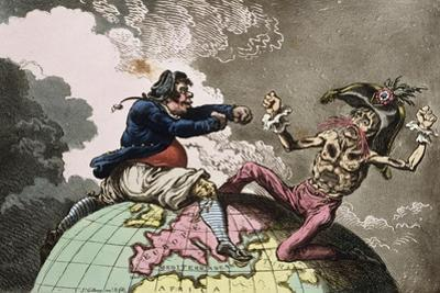 Fighting for the Dunghill, or Jack Tar Settl'Ing Buonaparte, Published by Hannah Humphrey in 1798 by James Gillray