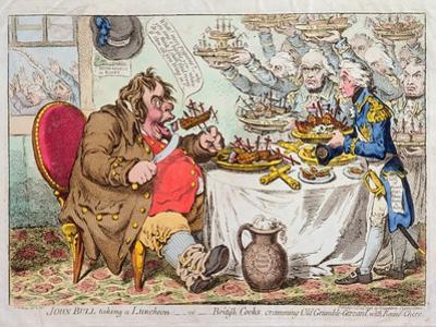 John Bull Taking a Luncheon, or British Cooks, Cramming Old Grumble-Gizzard with Bonne-Chere,… by James Gillray