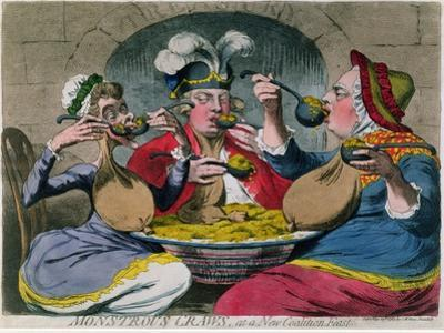 Monstrous Craws at a New Coalition Feast, Published by S.W. Fores in 1787 by James Gillray