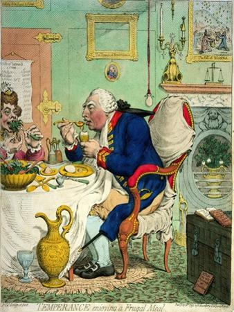 Temperance Enjoying a Frugal Meal, Published by Hannah Humphrey, 1792 by James Gillray
