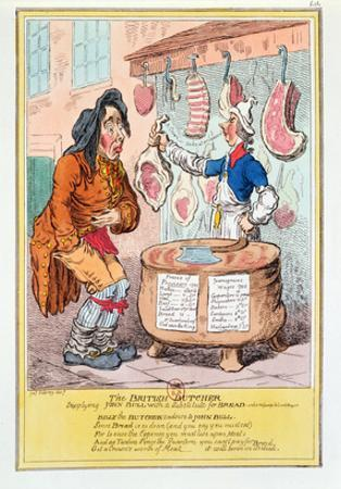 The British Butcher Supplying John Bull with a Substitute for Bread', 1795 (Colour Litho) by James Gillray