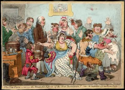 """The """"Cow Pock"""" or the Wonderful Effects of the New Inoculation, Satire on Jenner's Treatment by James Gillray"""