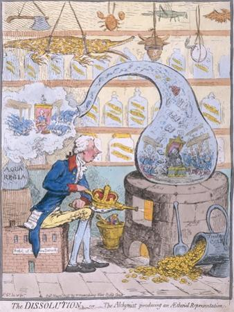 The Dissolution, or the Alchymist Producing an Aetherial Representation, Published by Hannah… by James Gillray