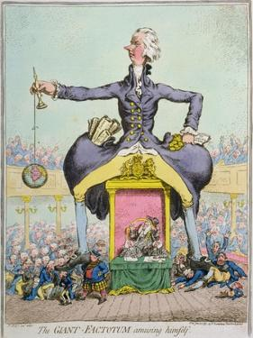 The Giant Factotum Amusing Himself, Published by Hannah Humphrey in 1797 by James Gillray