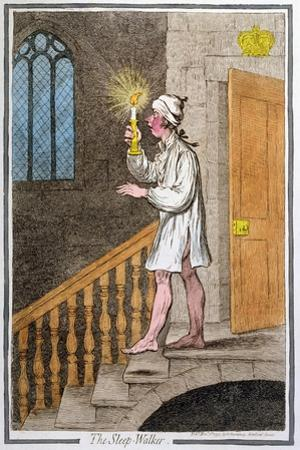 The Sleep-Walker, Published by Hannah Humphrey in 1795 (Hand-Coloured Etching0 by James Gillray