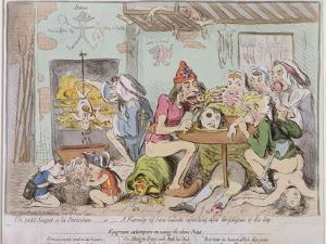 Un Petit Souper a La Parisienne, or a Family of Sans-Culottes Refreshing after the Fatigues of… by James Gillray