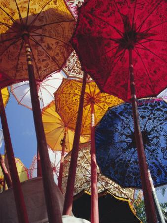 Decorative Umbrellas, Temple Festival, Mas, Bali, Indonesia, Asia