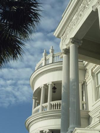 Detail of Portico and Ionic Columns of 25 East Battery, Charleston, South Carolina, USA