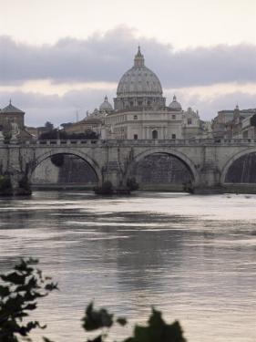 St. Peter's Basilica from Across the Tiber River, Rome, Lazio, Italy, Europe by James Gritz