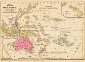 Map of Oceanica - Australia, Hawaii, Pacific Islands by James H. Young