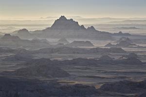 Badlands Layers on a Hazy Morning, Badlands National Park, South Dakota by James Hager