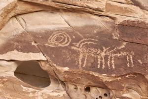 Bighorn Sheep and Symbol Petroglyphs, Gold Butte, Nevada, United States of America, North America by James Hager