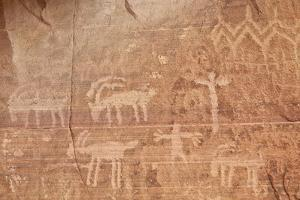 Bighorn Sheep, Human, and Geometric Petroglyphs, Gold Butte, Nevada, Usa by James Hager