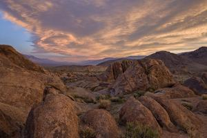 Clouds at Dawn over the Rock Formations, Alabama Hills, Inyo National Forest by James Hager