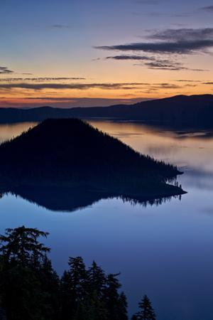 Crater Lake and Wizard Island at Dawn, Crater Lake National Park, Oregon, Usa by James Hager