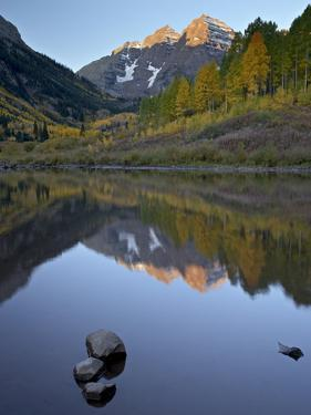 Maroon Bells Reflected in Maroon Lake With Fall Color, White River National Forest, Colorado, USA by James Hager